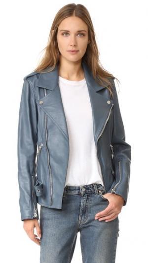 Контурная кожаная куртка 3.1 Phillip Lim. Цвет: голубой