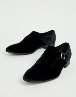 Черные бархатные монки с черной подошвой -Черный цвет ASOS DESIGN