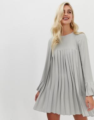Плиссированное платье-трапеция мини с длинными рукавами -Серый ASOS DESIGN
