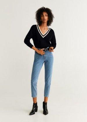 Пуловер с контрастной горловиной - Leage Mango. Цвет: черный