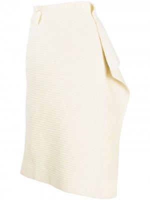 Драпированная юбка миди в рубчик Sacai. Цвет: белый