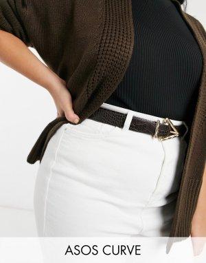 Коричневый ремень для джинсов с эффектом крокодиловой кожи и фактурной треугольной пряжкой ASOS DESIGN Curve-Коричневый цвет Curve