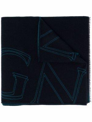 Шарф с бахромой и абстрактным принтом Z Zegna. Цвет: синий