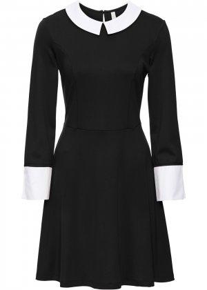Платье из трикотажа bonprix. Цвет: черный