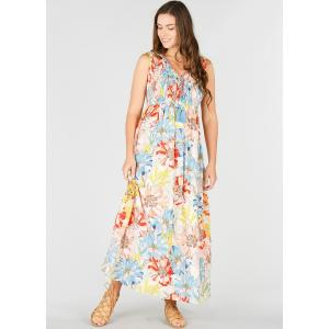 Платье длинное расклешенное с цветочным рисунком, без рукавов DERHY. Цвет: темно-синий/цветочный рисунок