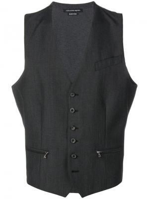 Жилет с карманами на молнии Alexander McQueen. Цвет: серый