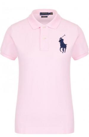 Хлопковое поло с вышитым логотипом бренда Polo Ralph Lauren. Цвет: розовый