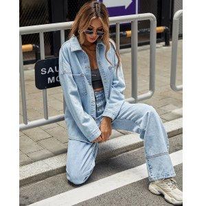 С карманами Одноцветный Повседневный Джинсовые куртки и пальто SHEIN. Цвет: легко-синий