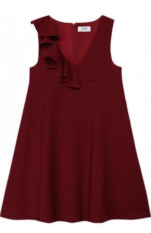 Расклешенное платье с оборкой Aletta. Цвет: бордовый
