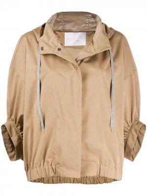 Куртка с капюшоном и укороченными рукавами Fabiana Filippi. Цвет: коричневый