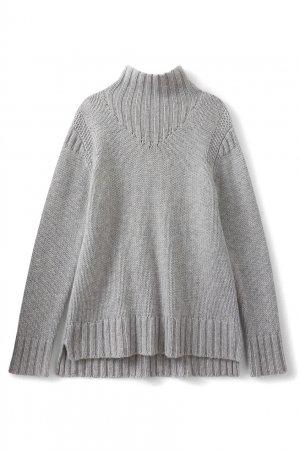 Светло-серый свитер из кашемира с высокой горловиной Bonpoint. Цвет: серый
