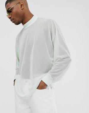 Oversize-лонгслив из тонкой сетчатой ткани -Зеленый ASOS DESIGN