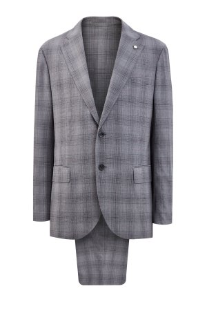 Костюм из шерстяной ткани Super 140s производства Carlo Barbera LUBIAM. Цвет: серый