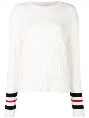 Плиссированный пуловер Trompe Loeil Thom Browne. Цвет: белый