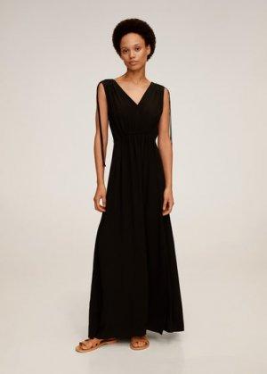 Длинное платье с бантами - Klement Mango. Цвет: черный