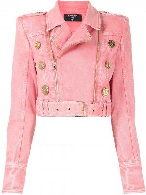 Байкерская куртка из денима Balmain. Цвет: розовый