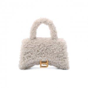 Сумка Fluffy Hourglass XS Balenciaga. Цвет: кремовый
