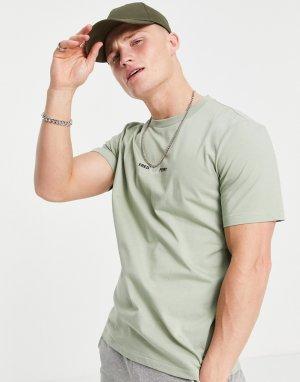 Шалфейно-зеленая футболка с вышивкой -Зеленый цвет Fred Perry