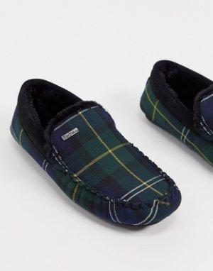 Замшевые слиперы в шотландскую клетку Monty-Зеленый Barbour
