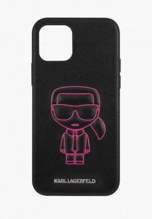 Чехол для iPhone Karl Lagerfeld 12/12 Pro (6.1), PU Ikonik outlines Metal logo Black/Pink. Цвет: черный