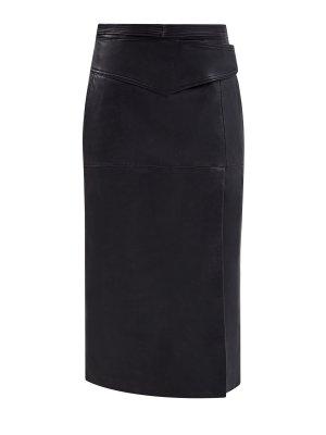 Кожаная юбка-миди с высоким разрезом REDVALENTINO. Цвет: черный