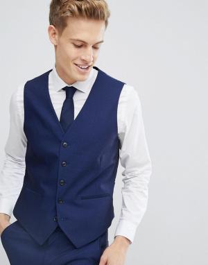 Приталенный жилет под смокинг Burton Menswear. Цвет: синий