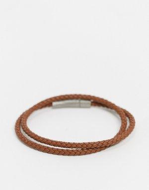 Кожаный браслет -Коричневый BOSS