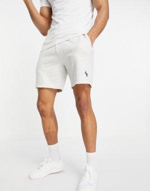 Серые трикотажные шорты с рукописным логотипом -Серый Abercrombie & Fitch