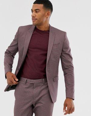 Коричневый пиджак с геометрическим принтом River Island