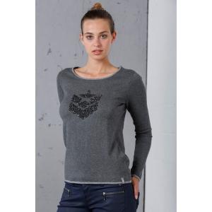 Пуловер кашемировый с круглым вырезом и логотипом из блесток спереди FREEMAN T. PORTER. Цвет: зеленый,розовый,серый