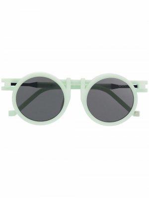 Солнцезащитные очки в круглой оправе VAVA Eyewear. Цвет: зеленый