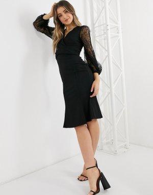 Черное платье-футляр с запахом спереди, юбкой-годе и кружевными рукавами -Черный цвет Lipsy