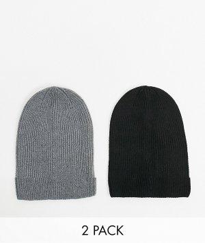 Набор из 2 свободных шапок-бини переработанного полиэстера серого и черного цвета ASOS DESIGN