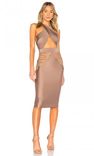 Миди платье с перекрестными шлейками спереди philip Michael Costello. Цвет: коричневый