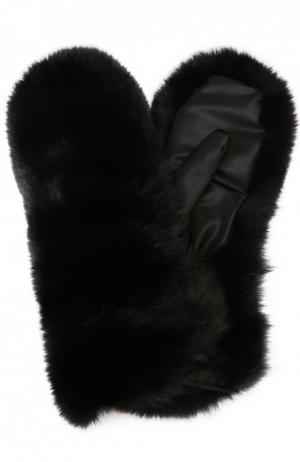 Меховые варежки с подкладкой из кашемира Dsquared2. Цвет: черный