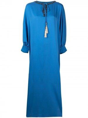 Платье-кафтан с кисточками Max Mara. Цвет: синий