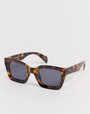 Коричневые солнцезащитные очки в крупной черепаховой оправе -Коричневый ASOS DESIGN