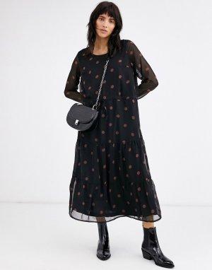 Платье миди в горошек -Мульти Ichi