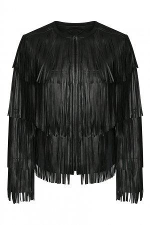 Кожаная куртка с бахромой Marina Rinaldi. Цвет: черный