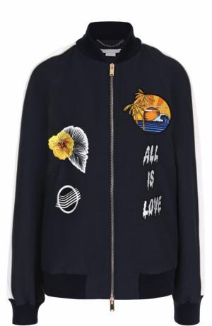 Бомбер на молнии с контрастной вышивкой Stella McCartney. Цвет: темно-синий