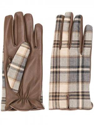 Перчатки в клетку Etro. Цвет: коричневый