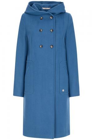Двубортное пальто с капюшоном Elema
