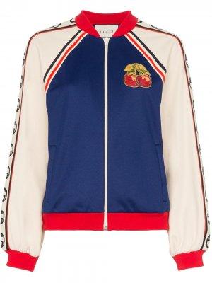 Куртка-бомбер с нашивкой Gucci. Цвет: синий