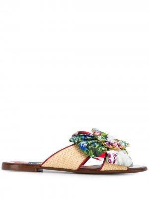 Сандалии с цветочным принтом Dolce & Gabbana. Цвет: белый