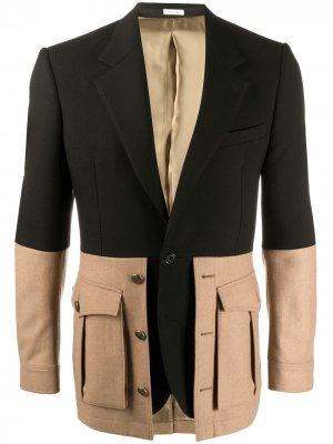 Двухцветный пиджак Alexander McQueen. Цвет: черный