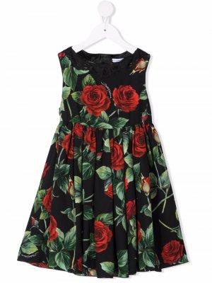 Rose-print midi dress Dolce & Gabbana Kids. Цвет: черный