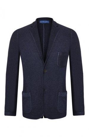 Однобортный пиджак из кашемира Andrea Campagna. Цвет: синий