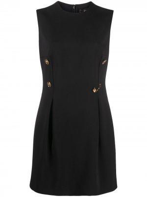 Платье мини с декоративной булавкой Versace. Цвет: черный