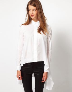 Рубашка с драпировкой по бокам JNBY. Цвет: белый