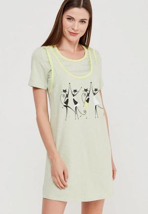 Платье домашнее Euromama. Цвет: зеленый